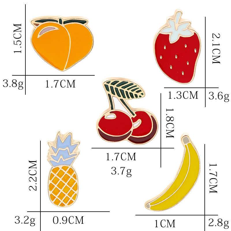 Di modo Mini Frutta Spilla Spilli Del Fumetto Sveglio del Gatto di Banana Spille eapple Anguria Cherry Smalto Spille Spille Cappello di Denim Collare Distintivo