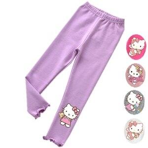 Леггинсы для девочек «hello kitty»; Kawai; эластичные леггинсы ярких цветов для малышей; брюки для малышей; детские штаны; обтягивающие леггинсы; де...