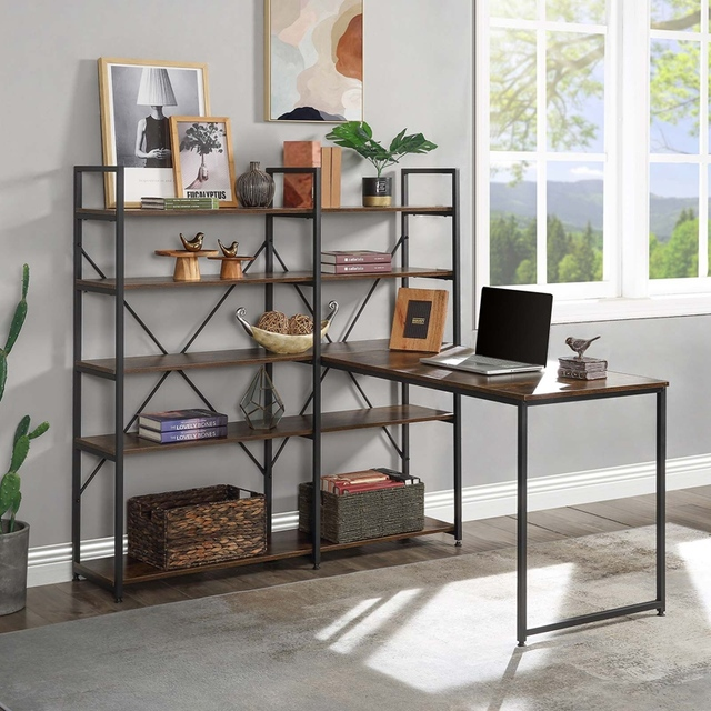 """Home Office 54"""" Large Computer Desk with 5-tier Shelves 2"""