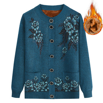 Sweater Cardigan Floral Print Knitted Women Casual Single Breasted Jumper 2019 Autumn Winter Warm Velvet  Sweater Top Pull Femme 2019 autumn winter women long sleeve 2 pieces knitted cardigan sweater casual floral print pull femme sweater plus size 4xl