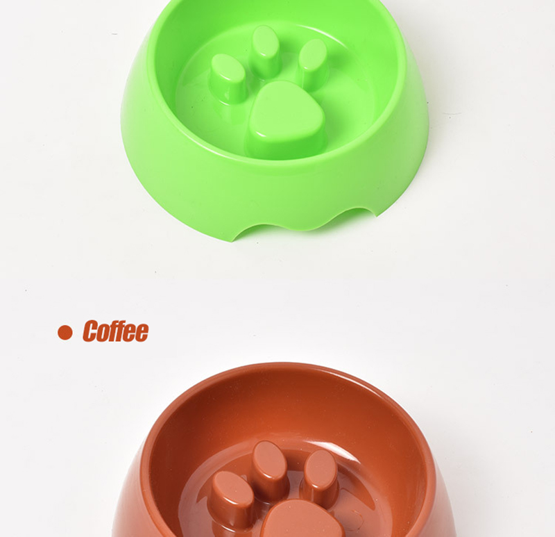 Cute Paw Dog Bowl Plastic Anti Choke Slow Feeder Pet Food Bowls For Cat Water Drinking Products For Dogs Silicone Container 12