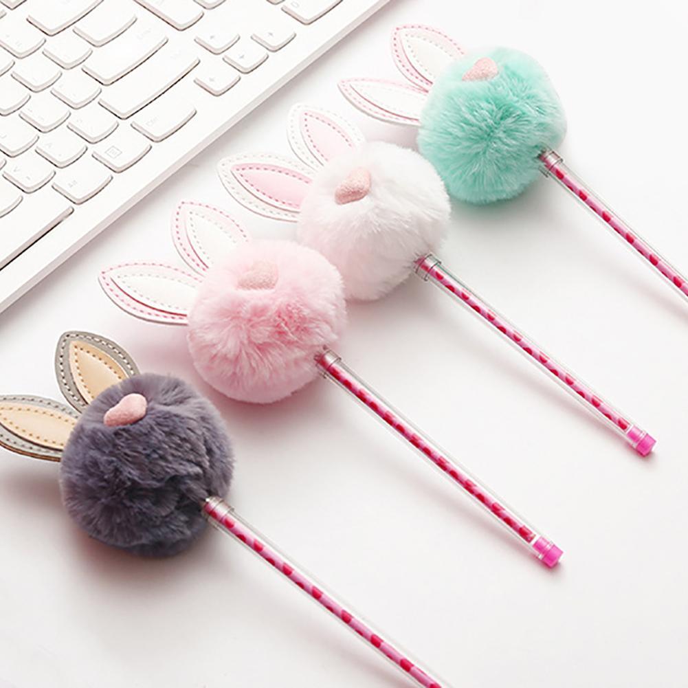 0.5mm Rabbit Ear Fluffy Ball Gel Ink Pen Student School Office Stationery Gift