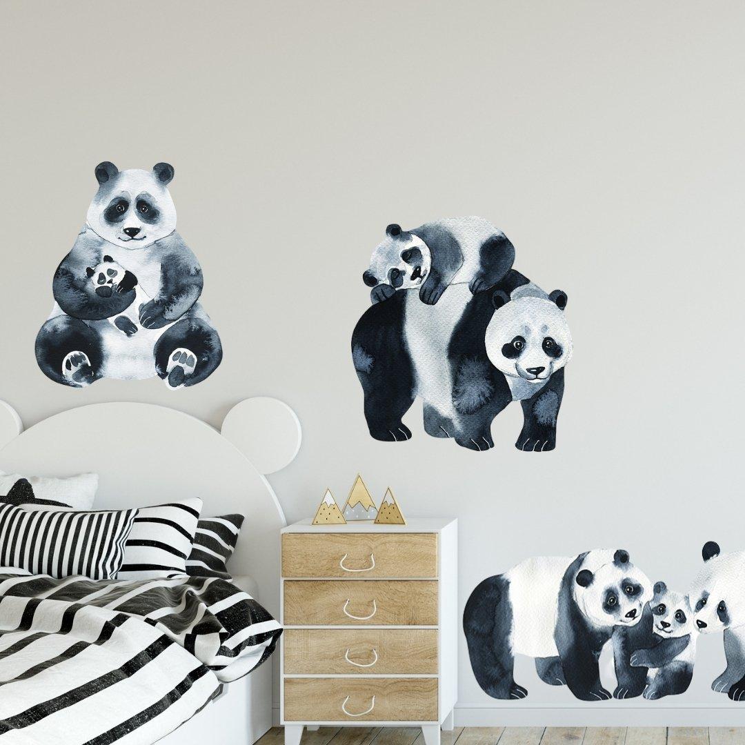 Акварельные животные, наклейки на стену, панда, наклейки для семьи, виниловые наклейки на стену, обои с мультяшными животными, черные украше...