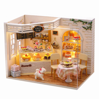 Wooden Doll House Furniture Diy Miniature Dust Cover 3D Miniaturas Dollhouse Toys for Children Birthday Gift Cake Diary Handmade sylvanian families house diy dollhouse handmade building toys birthday gift dolls house furniture kids toy juguetes brinquedos