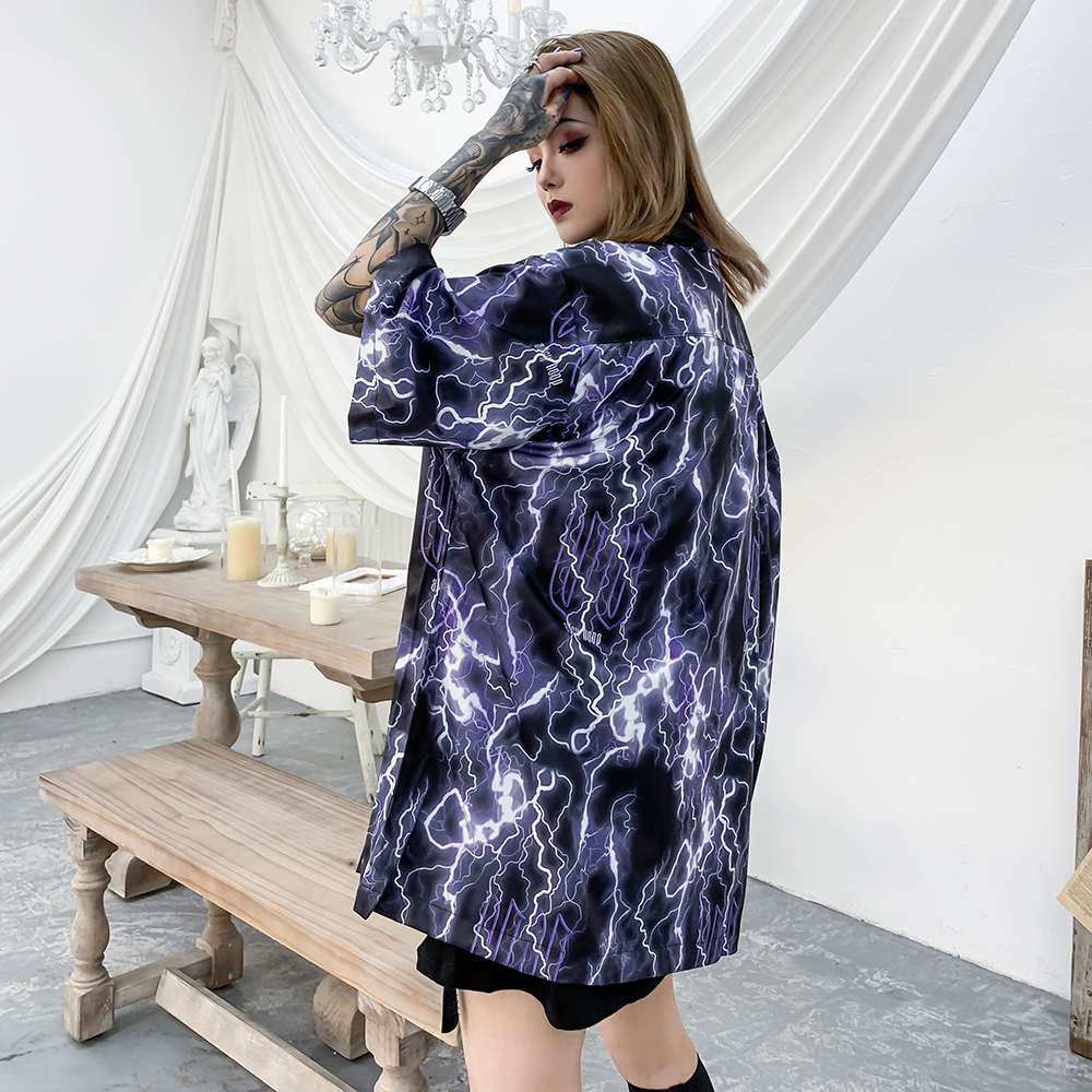 Lightning Gothic Clothes Summer Tops Plus Size Blouse Streetwear Oversized Women Clothing Goth Hawaiian Aloha Shirt 2020 Fashion