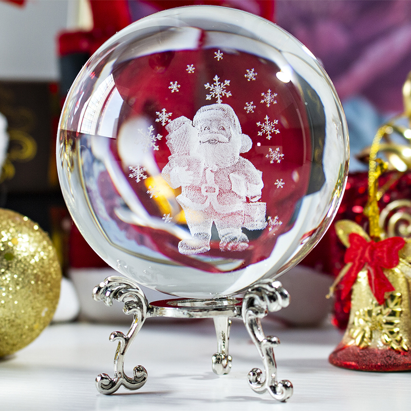 H&D 3D Clear Crystal Ball With Stand Figurine For Kids Gift Glass Sphere Home Decoration Christmas (Santa Claus,60mm/2.36inch)