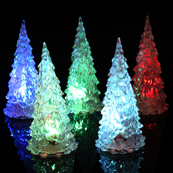 New LED Christmas tree night light battery works desk decoration Merry Christmas tree for boy bedroom Christmas gift image