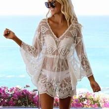 2021 белое кружевное пляжное платье туника купальник женский
