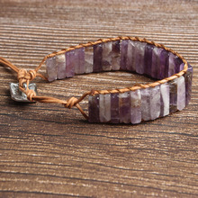 LanLi natural Jewelry Rectangular amethysts knit  bracelet men and women Giving presents self use