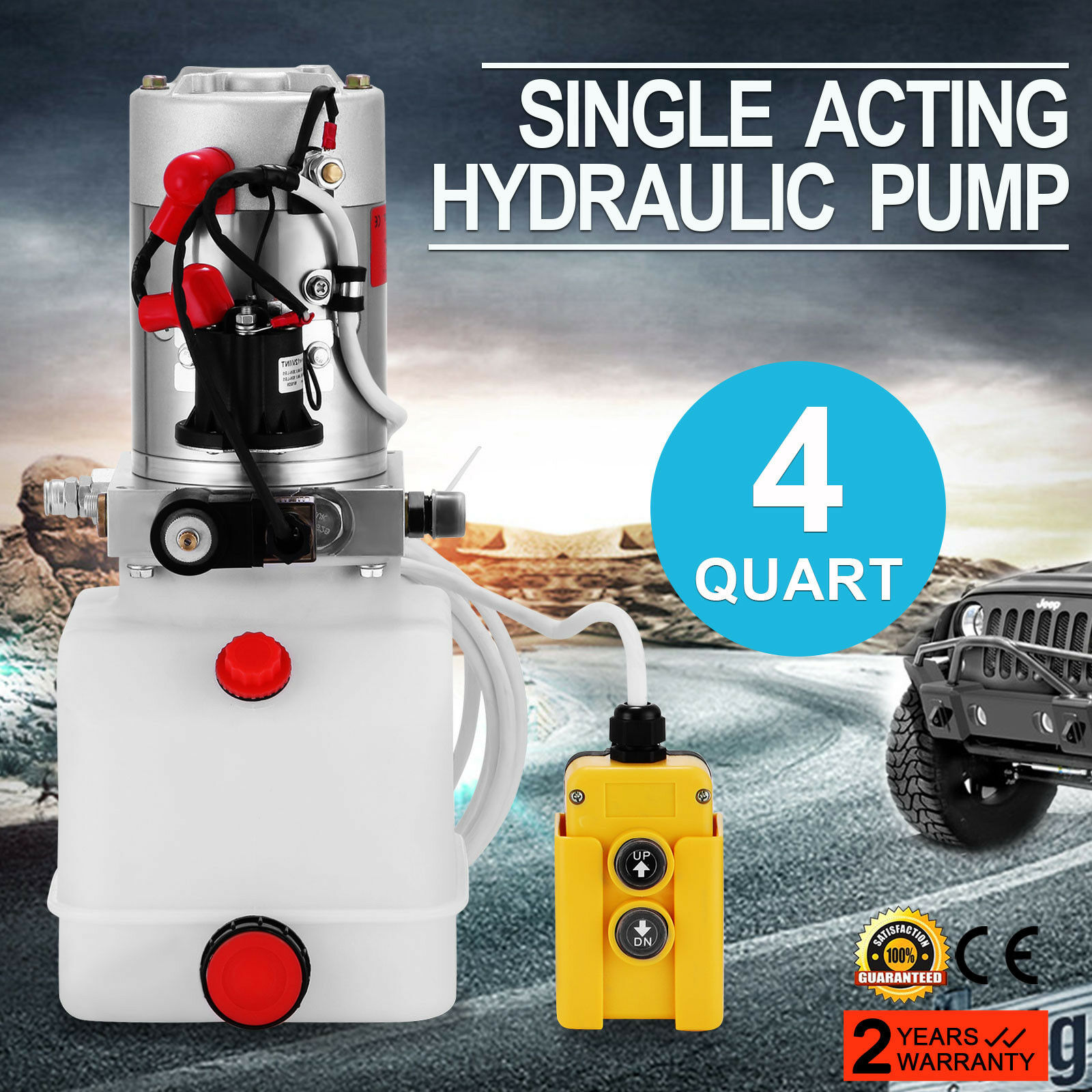 Hydraulic Pump 12V DC Single Acting Hydraulic Power Unit 4 Quart Plastic Tank Hydraulic Pump Power Unit For Dump Trailer Car Lif