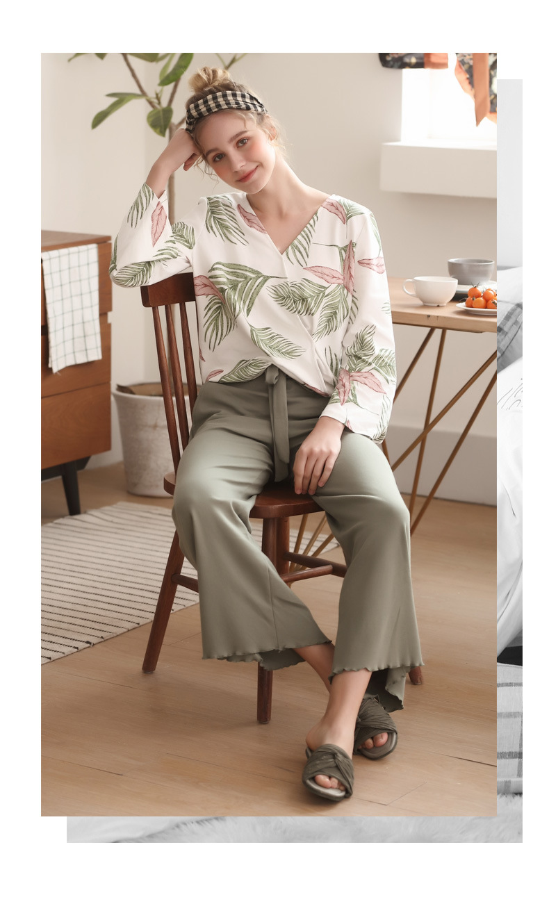 Image 4 - Pajamas Set for Women Spring and Autumn Long sleeved Tops with Trousers Pijamas Sets Leaves Printing Home Suit Pajamas for WomenPajama Sets   -