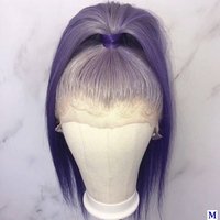 Ombre Light Purple Color 13x6 Deep Part Transparent Lace Front Human Hair Wigs Pre Plucked 150Density Full Lace Wigs for Women