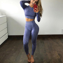 Gym Clothing Leggings Active-Wear Sport-Suit Seamless Women Cropped Fitness Long-Sleeve