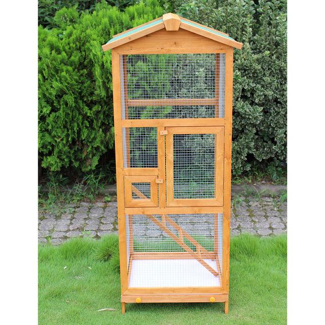 PawHut Bird Cage Large Parrot for Wooden Garden 68 × 63 × 165 cm 5