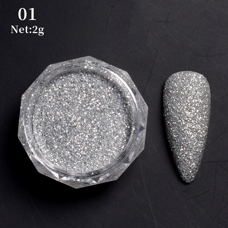 Rose Gold Bubble Mirror Powder Metallic Nail Glitter Holographics Chrome Dust Sparkling Flakes Pigment Manicur Nail Art Decor 34