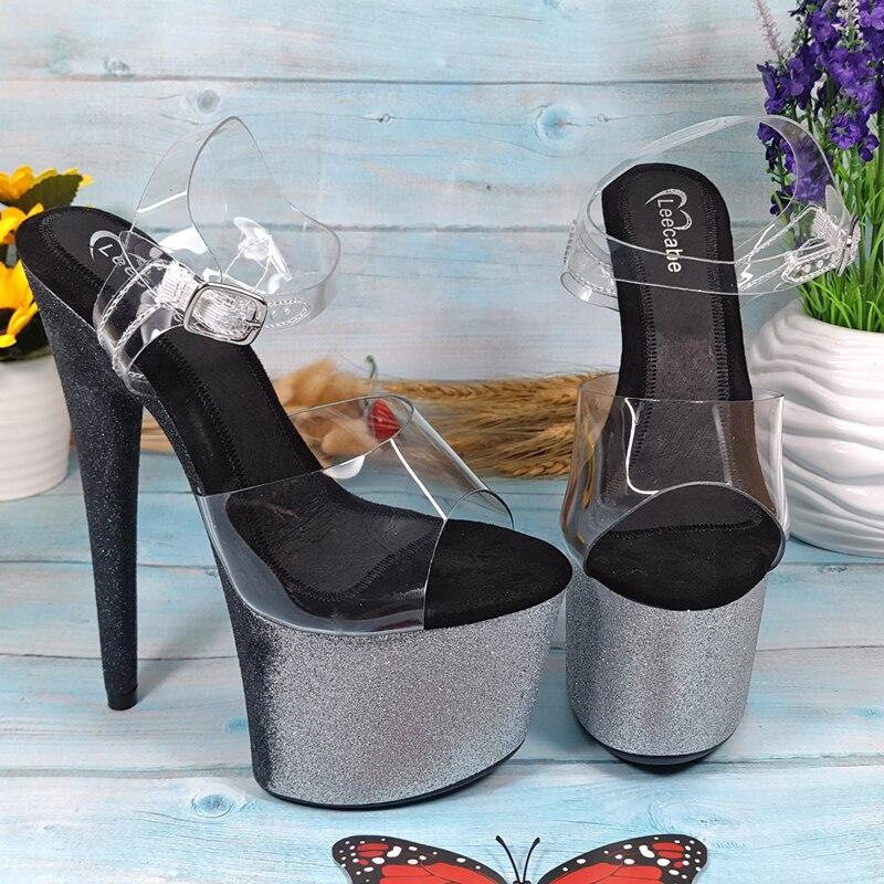 Leecabe Colorful Glitter heels Women's Platform Sandals Pole Dancing Shoes 17cm/7Inch High Heels Shoes party pole dance shoe