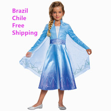 Elsa Snow Girl Costume Snow Queen Dress(China)