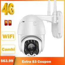 Hismaho 3g 4g cartão sim câmera ip 1080p hd câmera wifi ptz dome câmera ao ar livre 2 vias de áudio segurança cctv p2p ir visão noturna 30m
