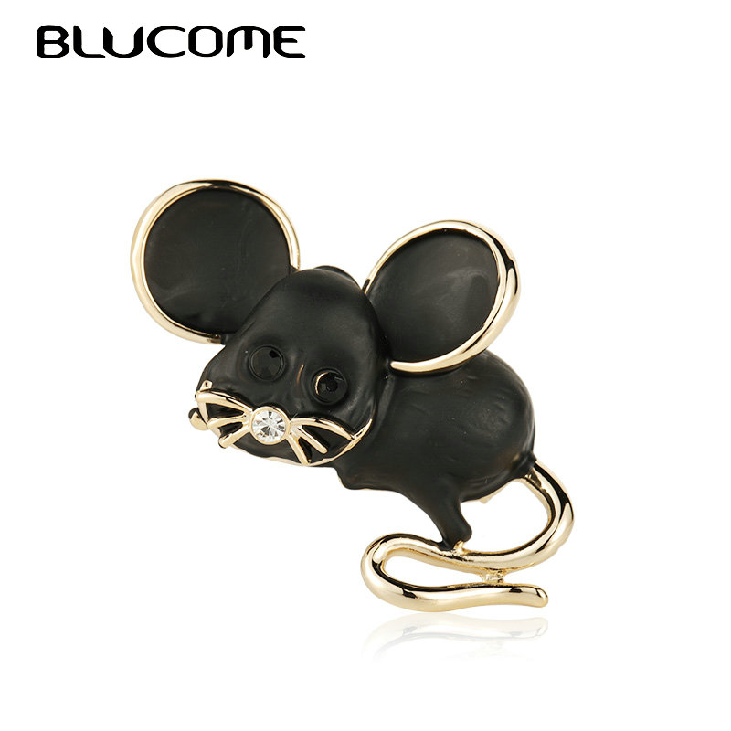 Blucome Cute Black Mouse Brooch Gold Color Alloy Animal Brooches For Scarf Sweater Corsage Accessories Lady Kids Jewelry Pins Up