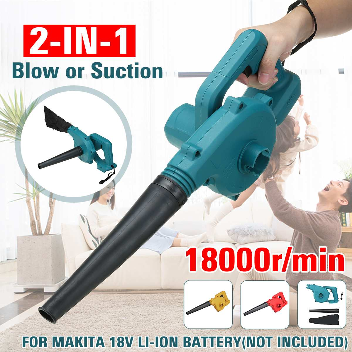 2 IN 1 600W Cordless Electric Air Blower Vacuum 18000r min Leaf Dust Collector Cleaner Power Tool for 18V Makita Battery