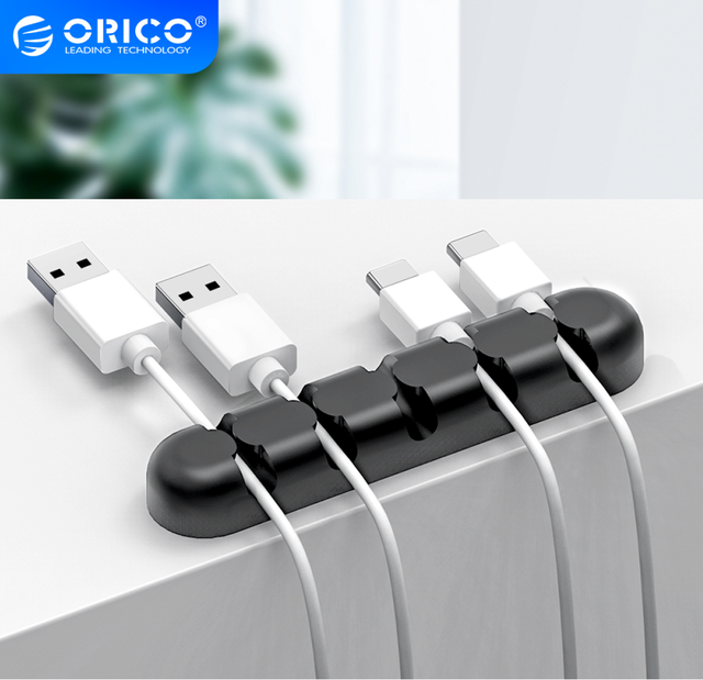 ORICO Cable Organizer Silicone USB Cable Winder Desktop Tidy Management Clips Cable Holder for Mouse Headphone Wire Organizer