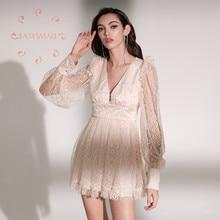 EASYSMALL ZIMMER Frauen kleid Mode Frühjahr urlaub Plus Größe high-end-Hohe Taille v-ausschnitt spitze Puff Sleeve Silk kleider