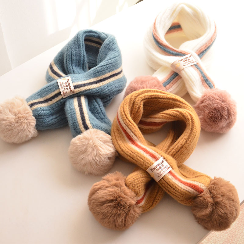 Children Boys Girls Knitted Soft Scarf Fiber Color Matching Thickened Winter Autumn Windproof Neck Warmer Wool Ball Scarves
