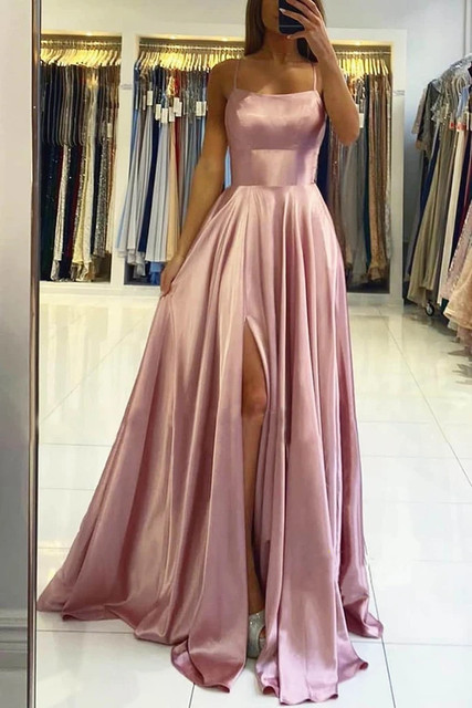 Womens Straps Prom Dress Long High Split Satin Evening Gowns Prom Spaghetti Formal Party Bridesmaid Dresses For Wedding 2