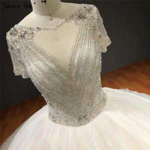 Image 3 - Vestidos de novia blancos de manga corta brillantes de gama alta con pedrería de diamante sexis vestidos de novia de lujo HA2275 hechos a medida