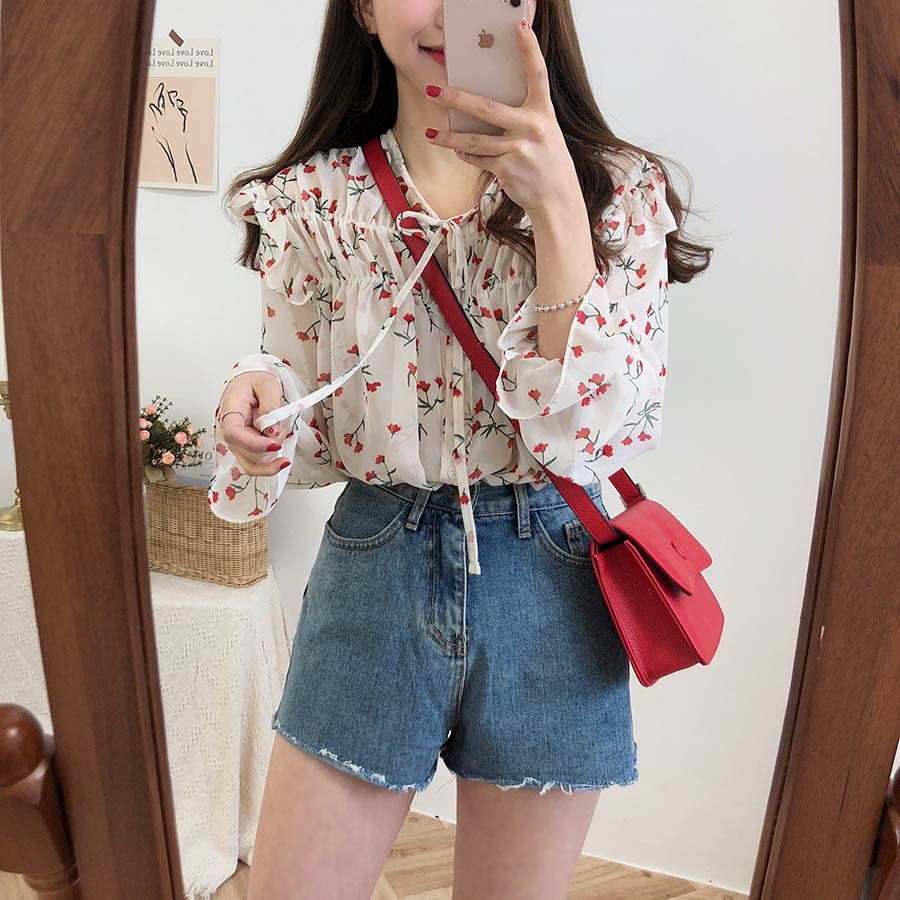H3324af445cb24ae9b855cf95f5fb7defW - Spring / Autumn Lace-Up Collar Long Sleeves Floral Print Blouse