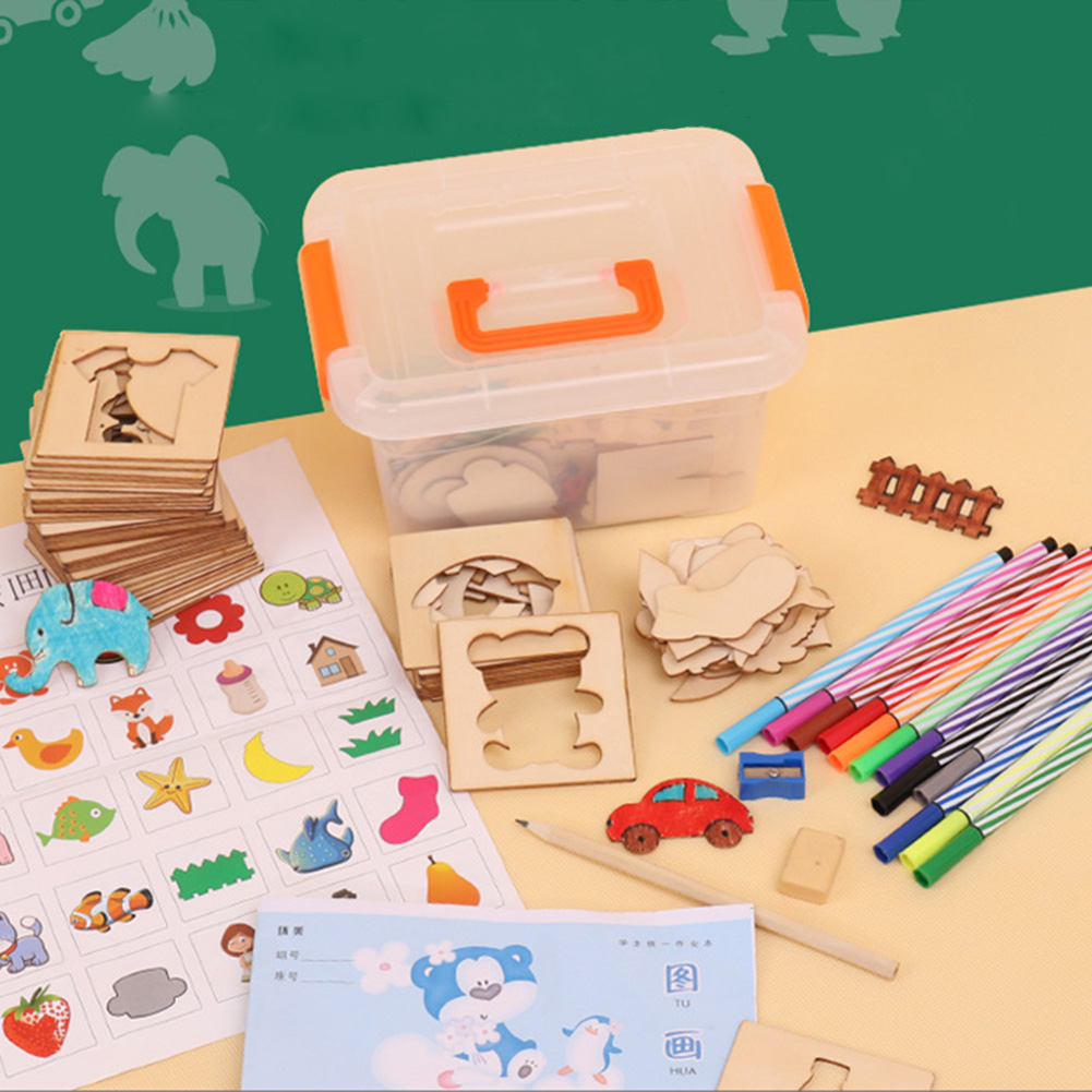 113 Pcs Baby Toys Drawing Toys Painting Stencil Templates Coloring Board Children Creative Doodles Early Learning Education Toys