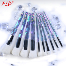 FLD 10Pcs Professional Makeup Brush Set Cosmetic Blush Powder Foundation Brush Eye Shadow Lip Eyebrow Diamond Makeup Kit Brushes