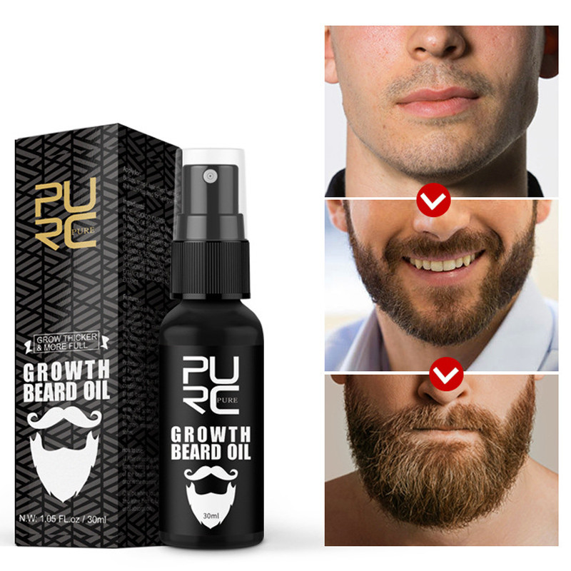 PURC Organic Beard Growth Oil Hair Loss Enhancer Beard Wax Balm Moustache Oil Leave-In Conditioner Hair Growth Nourishing