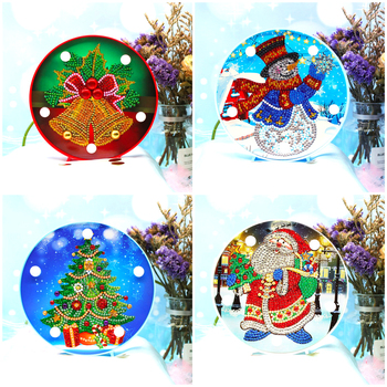 HUACAN Christmas Diamond Painting LED Lamp Light Special Shaped 5D Diamond Embroidery Mosaic Santa Claus DIY Craft Kit