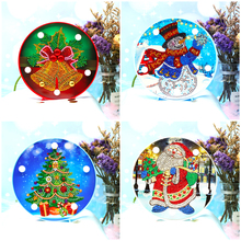 HUACAN Christmas Diamond Painting LED Lamp Light Special Shaped 5D Embroidery Mosaic Santa Claus DIY Craft Kit