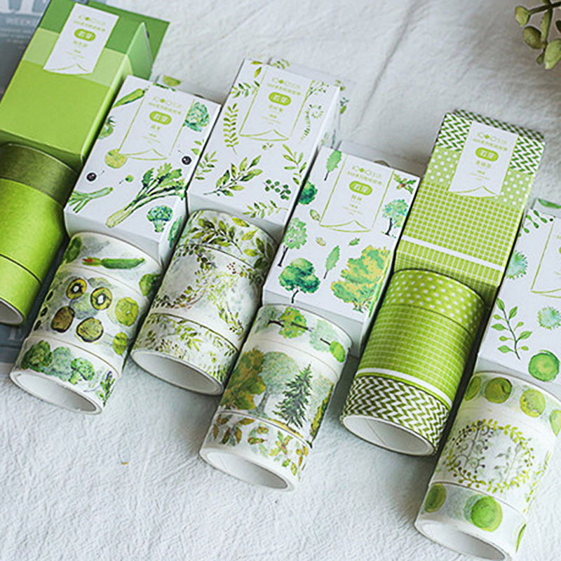 Cute Green Plant Adhesive Tape Creative Leaves Washi Tape Masking Tapes For Kids Scrapbooking Photos Albums Supplies Stationery