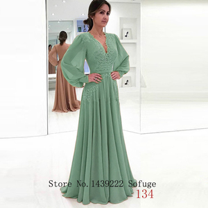 Image 4 - Sofuge 우아한 회교도 이브닝 드레스 a 라인 긴 소매 시폰 레이스 새시 두바이 사우디 아라비아 긴 저녁 파티 파티 드레스