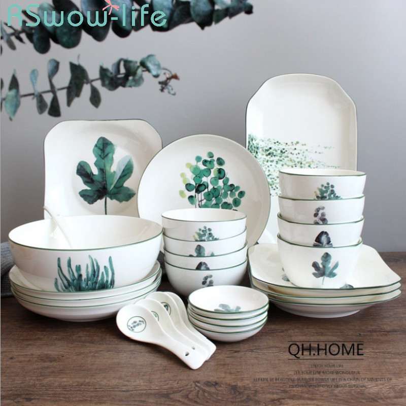 Vaisselle en céramique plante verte | Vaisselle, cuillère vaisselle de Style nordique combinaison de plats, maison os japonais Simple, chine pour la maison