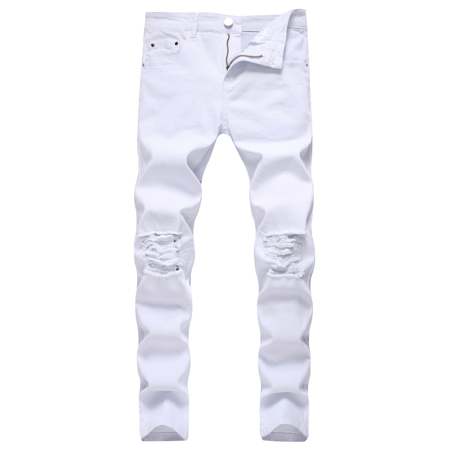 lawn Not complicated parent  Solid White Ripped Jeans Men 2020 Classic Retro Mens Skinny Jeans Brand  Elastic Denim Pants Trousers Casual Slim Fit Pencil Pant|Jeans| - AliExpress
