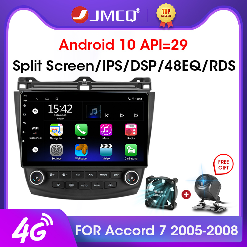 JMCQ 2Din 2G+32G <font><b>Android</b></font> 10 4G+WiFi DSP CarPlay Car <font><b>Radio</b></font> Multimedia Video Player For <font><b>Honda</b></font> <font><b>Accord</b></font> 7 2005-2008 Navigation GPS image