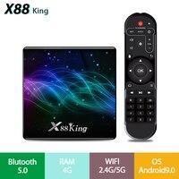 X88 rei android 9.0 tevê boamlogic s922x 4 gb ddr4 ram 128 gb rom 1000 m lan 5g wifi bluetooth 5.0 android 9.0 4 k definir caixa superior