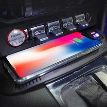 15W Car Wireless Charger QI Chargerแผ่นชาร์จไร้สายโทรศัพท์ผู้ถืออุปกรณ์เสริมสำหรับFord Mustang 2015 2020