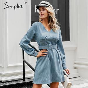 Image 2 - Simplee Sexy scollo a v a righe donne del vestito casual manica lunga cinghia di modo blu Una Linea di abito femminile Autunno inverno ufficio mini vestito