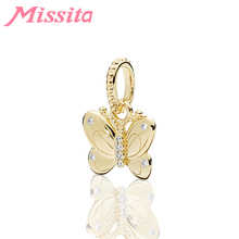 MISSITA Romantic Gold Butterfly Pendant fit Brand Original Charm Bracelet DIY Jewelry Women Accessories Gift