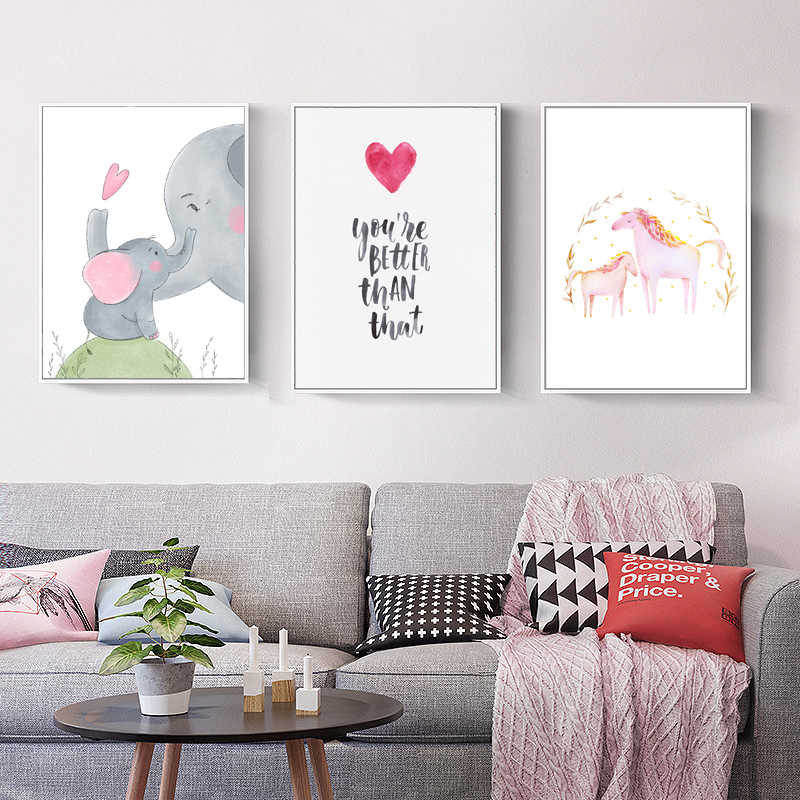 الكرتون الفيل الحصان حائط لوح رسم الفن الحضانة المشارك طباعة يقتبس ملصق فني Nordico جدار الصور للأطفال غرفة ديكور