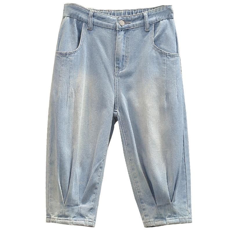 Jeans Woman High Waist Zipper Plus Size Loose Capris Street Style Casual Calf-length Retro Blue Denim Harem Pants 4xl 5xl