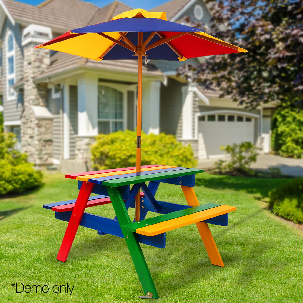 Outdoor Patio Benches For Drink Keezi Kids Wooden Picnic Table Set With Umbrella Useful Home Garden Bench