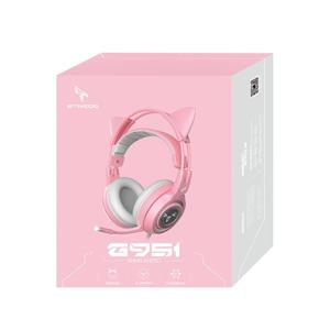 Image 5 - Somicピンクゲーミングヘッドセット7.1サラウンドサウンドG951猫耳ステレオノイズキャンセルヘッドフォン振動led usbヘッドセットのための