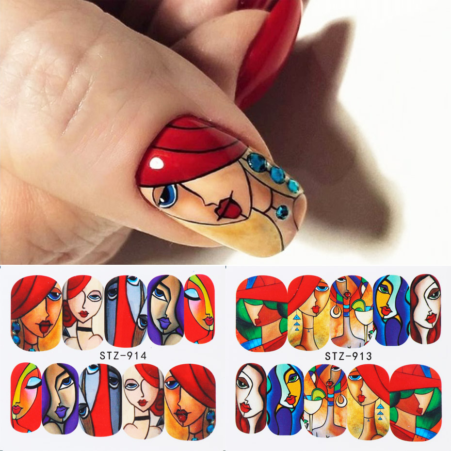 1pcs Nail Stickers Abstract Line Image Water Sliders Colorful Face Nail Art Transfer Decal Manicure Wrap Decoration JISTZ906-921