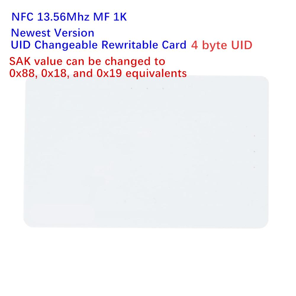 1pcs Newest Version NFC 13.56mhz 4 Byte UID Changeable Zero Sector Writable SAK=88/18/19 Changeable Rewritable MF 1K Magic Card